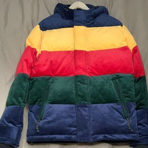 American Eagle Corduroy Puffer Jacket Color Block